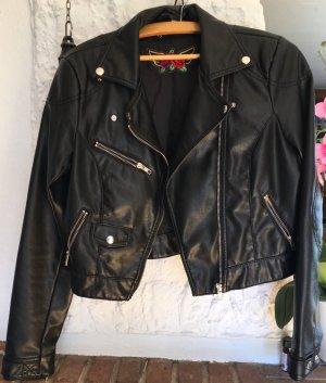 Kurze Lederjacke von H&M in schwarz
