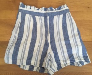 Pull & Bear Pantalón de lino blanco-azul acero