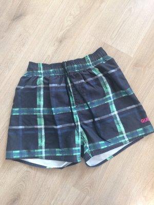 Kurze Quicksilver Bade Shorts für Männer in S kariert grün blau