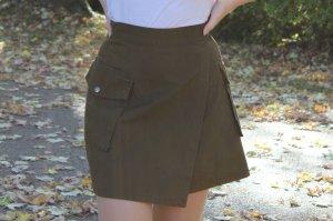 H&M Falda de talle alto verde oscuro-ocre
