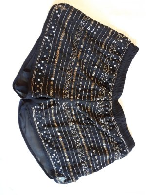 kurze schwarze Hose mit Pailletten ungetragen