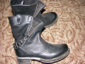 Kurze Stiefel Boots Biker-Style Schwarz Swarovski teilw. Leder 37