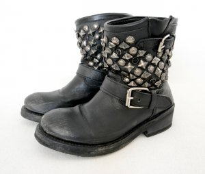ASH Short Boots black-silver-colored leather