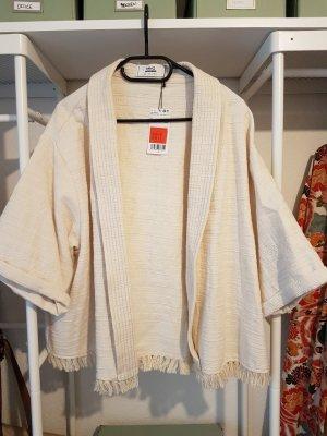 Kurze, strukturierte Kimono-Jacke mit Quasten und Boho-Muster