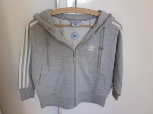 Adidas Veste sweat gris clair-blanc coton