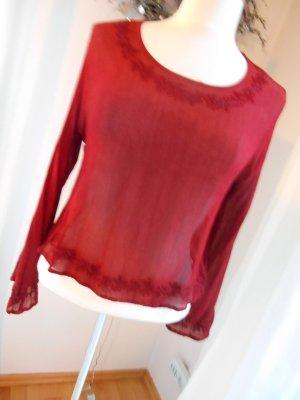 Kurze Tunika Bluse mit Stickerei ~ Gr. S/M ~ sattes Rot
