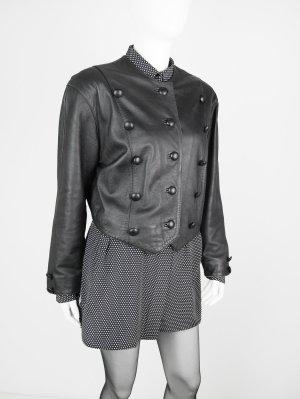Kurze Vintage Lederjacke in Schwarz