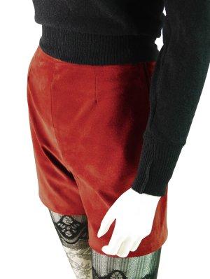 Kurze Wildleder Vintage Shorts in Kaminrot
