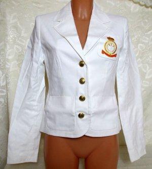 Kurzer Blazer Uniform Maritim Style Größe 34 Weiß Gefüttert Baumwoll-Stretch