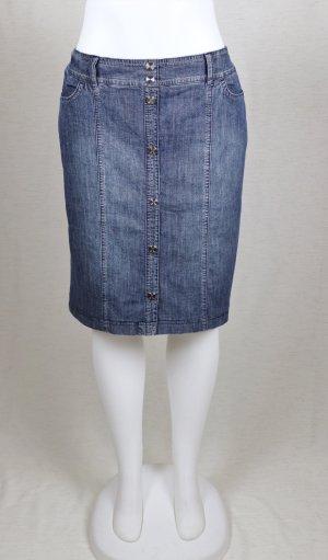Kurzer Jeans Rock Betty Barclay Größe 44 Blau Grau Stretch Denim Knopfleiste Gerade Minirock