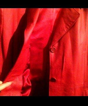 DIFFUSION Abrigo de cuero rojo-carmín