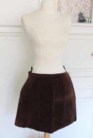 Kurzer Lederrock, Wildlederrock, dunkelbraun, Vintage, 36/38