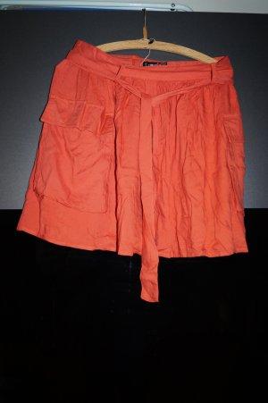 Falda circular naranja oscuro Viscosa