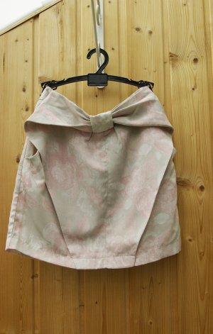 kurzer Mini Rock Bleistiftrock Blumen rock mit Schleife Blumenmuster nude rosa grau
