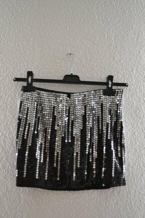 bebe Mini-jupe noir-argenté fibre synthétique