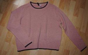 Kurzer Raglan Pullover von H&M rose schwarz - weicher Strick - Gr. M Neu!