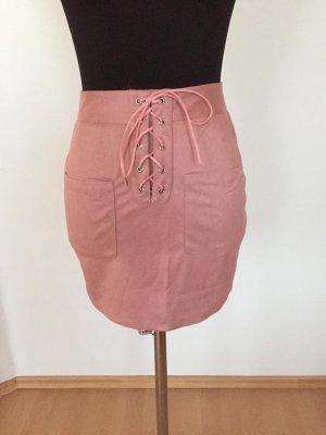 Falda de cuero de imitación rosa-rosa empolvado Imitación de cuero