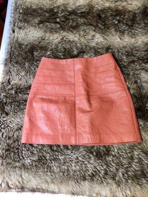 Asos Petite Falda de cuero de imitación albaricoque-salmón