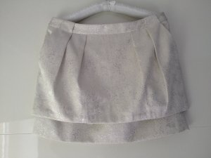 Zara Mini-jupe blanc-argenté tissu mixte