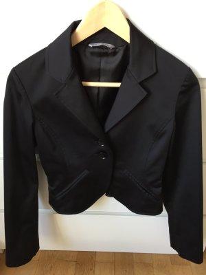 Kurzer Satin-Blazer Blazer Jacke schwarz Gr. 34