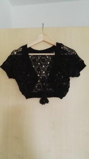 Bolero lavorato a maglia nero Cotone
