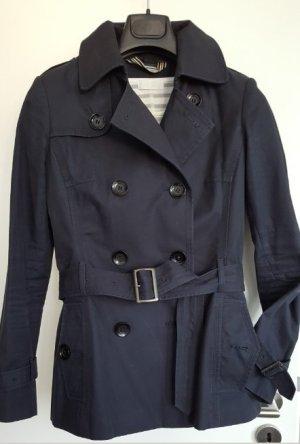 Kurzer Trenchcoat mit Taillengürtel, Gr. 36, Navy Blue, Baumwolle, wie neu!