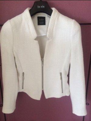 Kurzer Tweed-Blazer mit Schößchen und Reißverschlüssen in weiß S