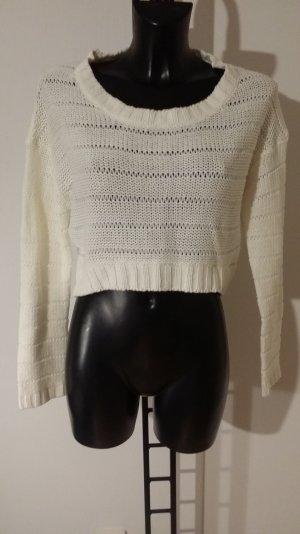 Kurzer weißer Pullover