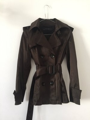 Zara Between-Seasons Jacket dark brown cotton