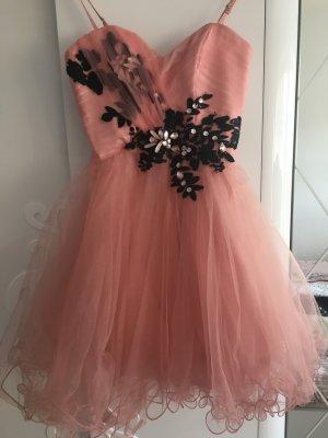 Vestido bustier negro-rosa claro