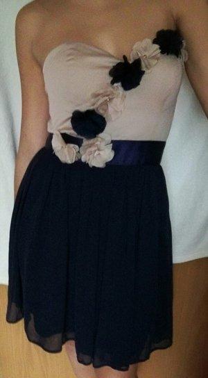Kurzes Abendkleid beige-dunkelblau mit Rosen