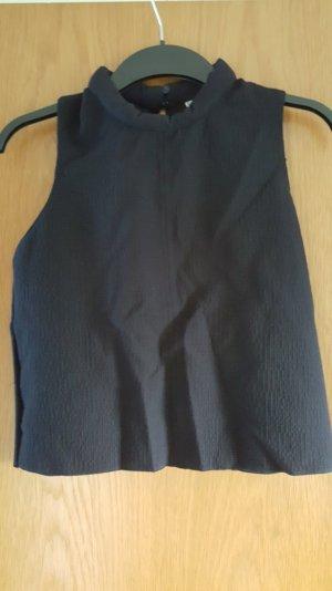 Kurzes ärmelloses Top mit Schornsteinkragen in dunkelblau