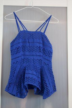 H&M Peplum top blauw Gemengd weefsel