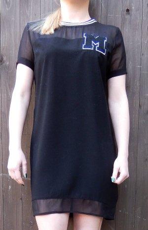 Kurzes College-Style T-Shirt Kleid von Pimke - Schwarzweiß, Gr. S