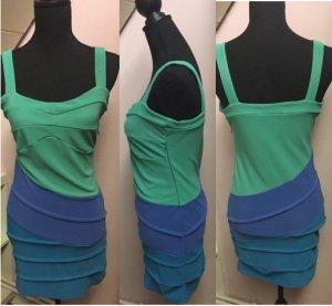 Kurzes colour blocking Kleid in blau und grün