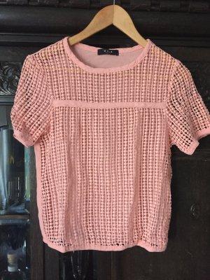 Kurzes Crochet Top in zartem rosa
