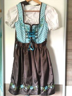 Kurzes Dirndl inkl. Bluse Gr. 32 hellblau / braun (Fuchs Trachtenmode)