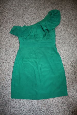 Forever 21 One Shoulder Dress forest green polyester