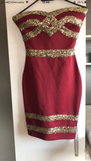 Off-The-Shoulder Dress dark red