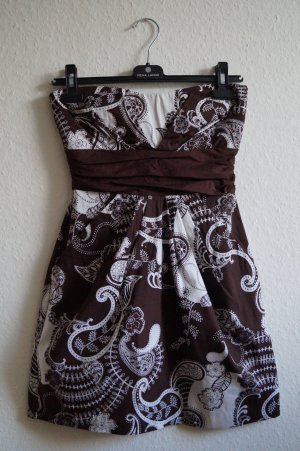 Vestido bandeau blanco-marrón oscuro