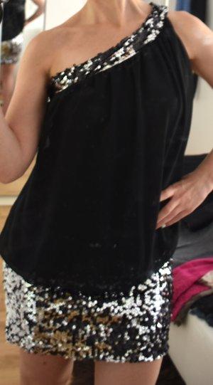 Vestido de un hombro negro-blanco
