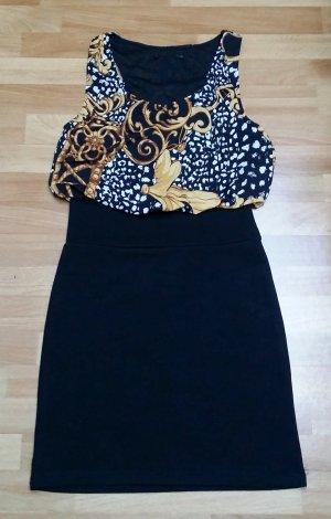 Kurzes Kleid in schwarz-hell braun-weiß, Gr. S/36