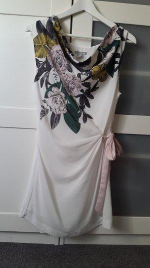 kurzes Kleid in weiß mit Blumenmuster Größe 38