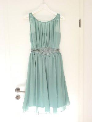 Kurzes Kleid (knielang) in Mint-Pastell mit Chiffon und Zierstickerei