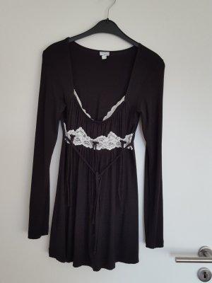 kurzes Kleid/long top in schwarz mit weißer spitze. n