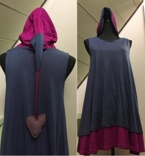 Hooded Dress pink-blue violet synthetic fibre