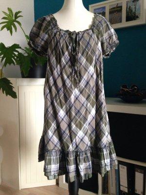 kurzes Kleid mit Karomuster - Boho - mit Volant