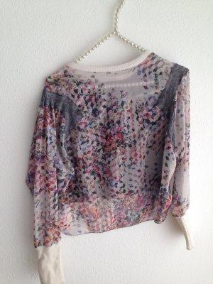 Kurzes Langarm-Shirt mit transparenter Seite von Zara