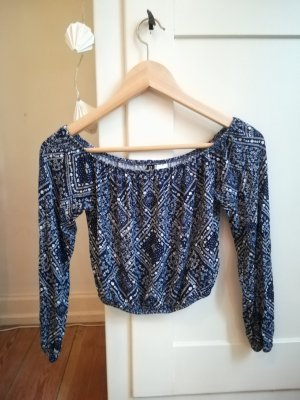 H&M Divided Cropped shirt wit-donkerblauw Viscose