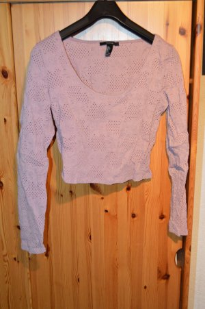 kurzes Langarmshirt mit Lochstickmuster altrosa